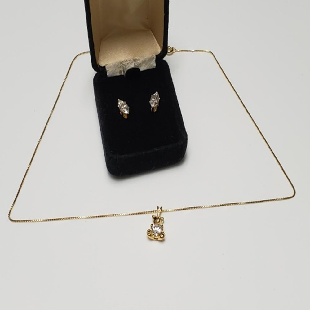 Gold Over Sterling Bear Pendant Necklace/Earrings
