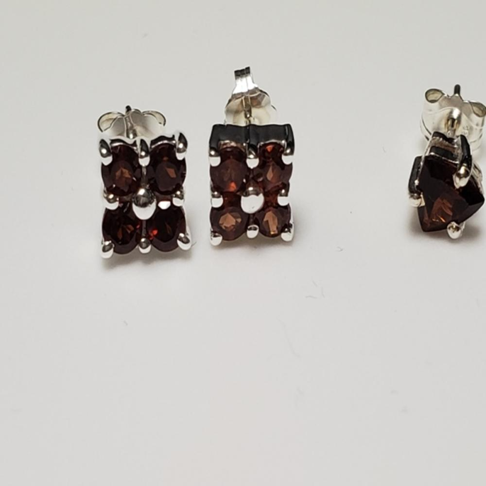 Lot 125: (2) Pairs of Sterling and Garnet Earrings