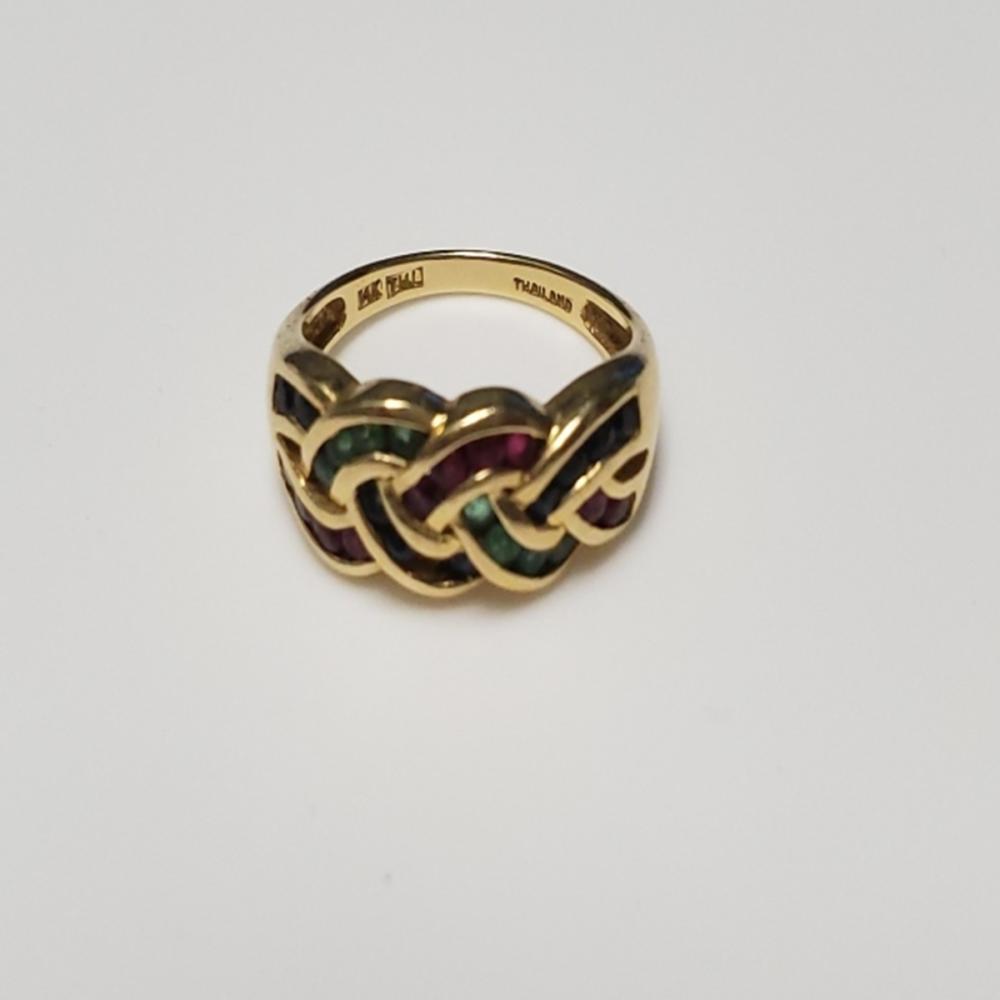 14 Karat Gold Ruby/Emerald/Sapphire Ring Sz 7.25