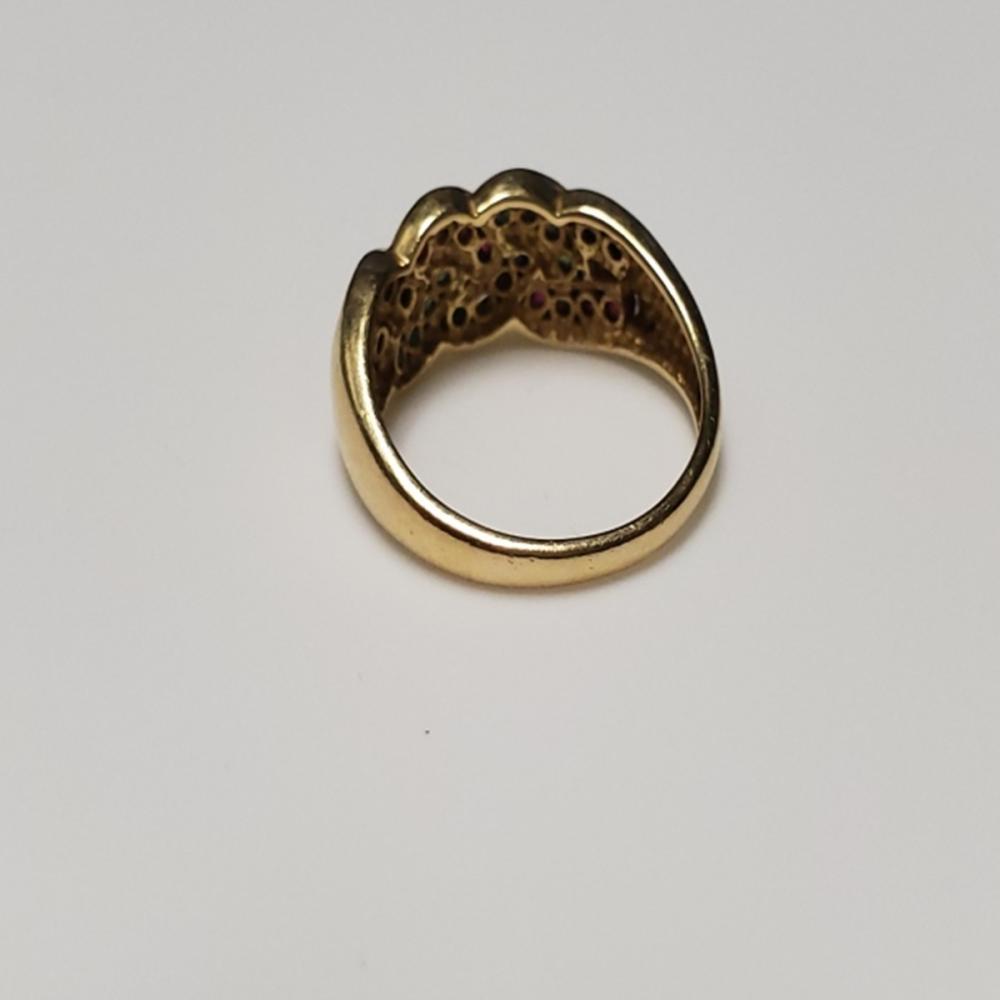 Lot 136: 14 Karat Gold Ruby/Emerald/Sapphire Ring Sz 7.25