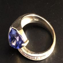 Lot 146: Sterling Silver Ring w/ Tanzanite & Tourmaline