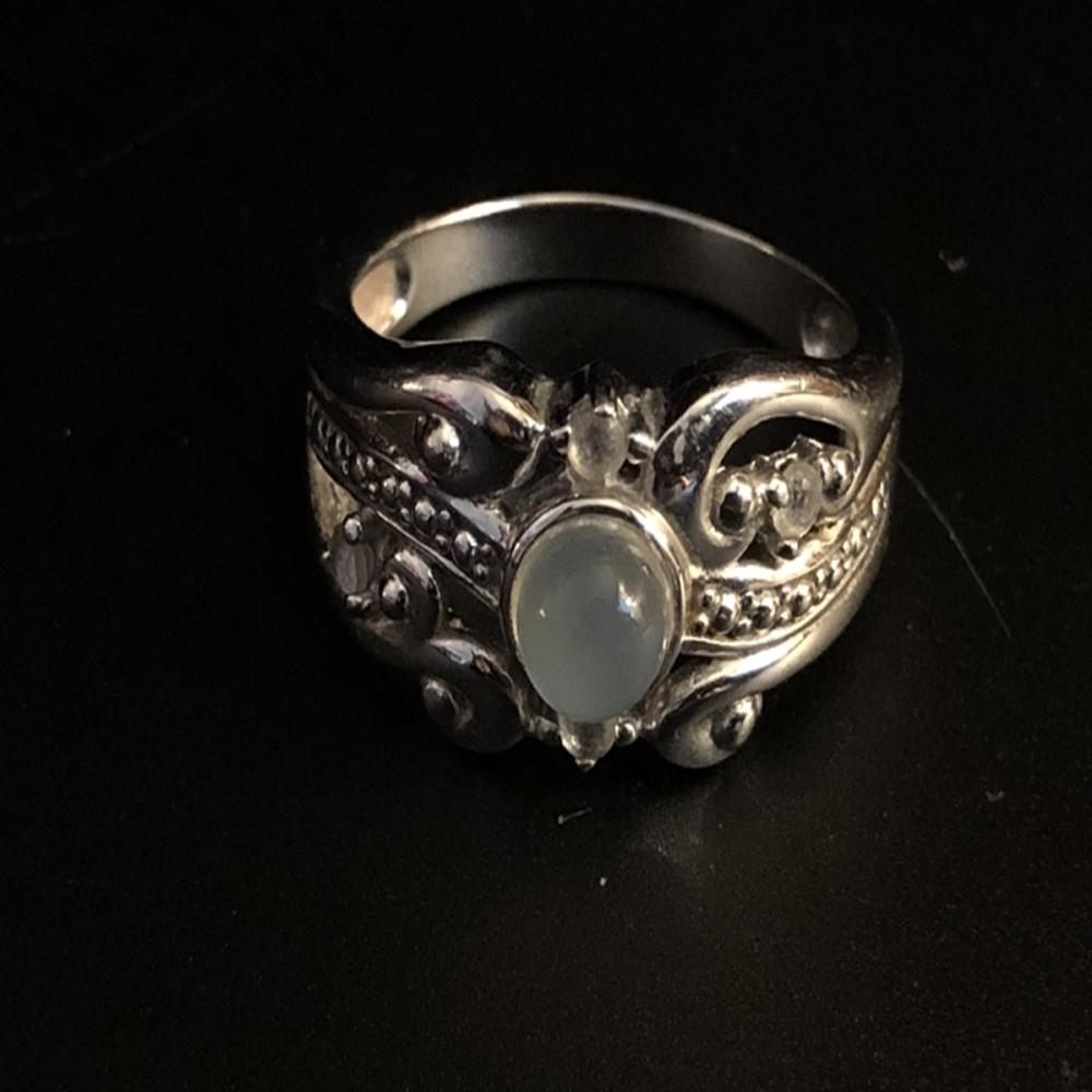 Sterling Silver Ring with Moonstone and Citrine