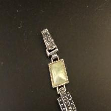Lot 149: Sterling Silver Bracelet with Jadeite/Spinel Stone