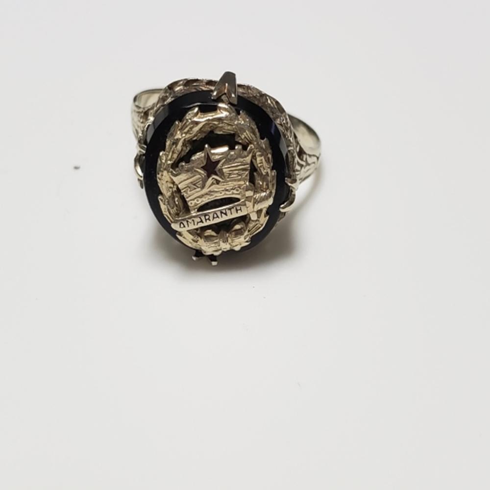 14 Karat White Gold and Onyx Amaranth Ring