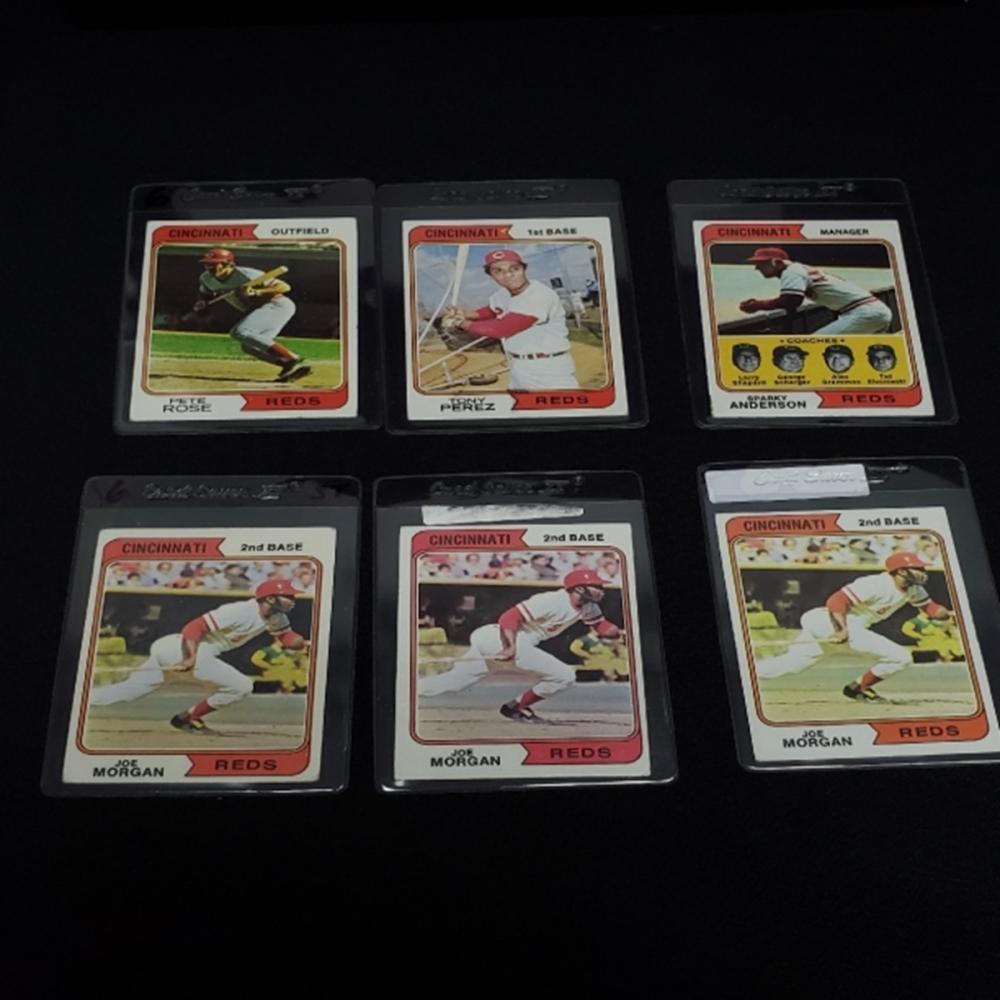 (6) 1974 Cincinnati Reds Player Cards