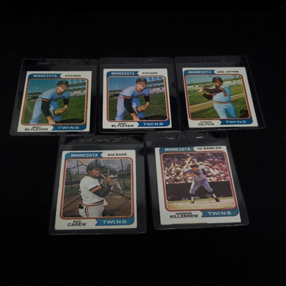 Lot 166: (5) 1974 Minnesota Twins Player Cards