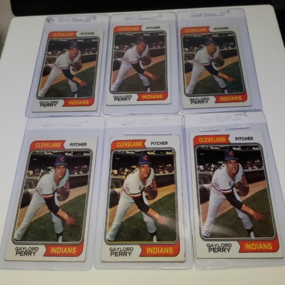 (6) 1974 Cleveland Indians #35 Gaylord Perry Cards