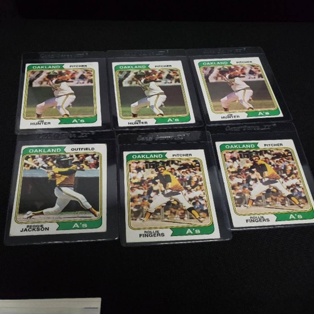 (6) 1974 Oakland A's Player Cards