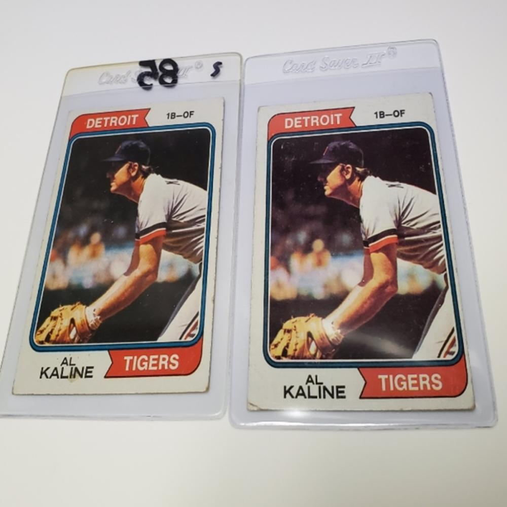 Lot 171: (2) 1974 Topps Detroit Tigers #215 Al Kaline Cards