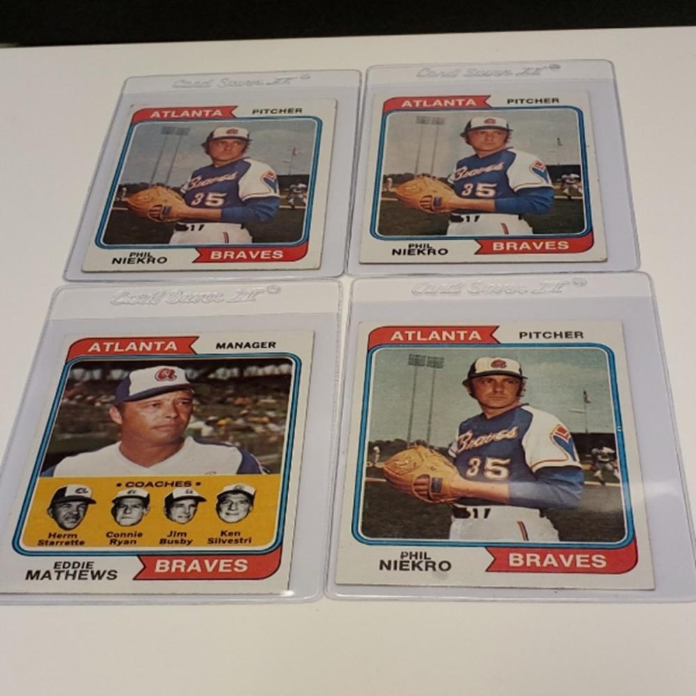 (4) 1974 Topps Atlanta Braves Player Cards