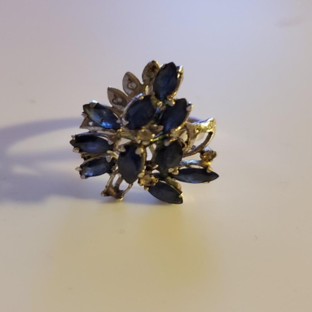 14k White Gold over Sterling Sapphire/Citrine Ring
