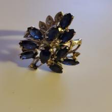 Lot 177: 14k White Gold over Sterling Sapphire/Citrine Ring