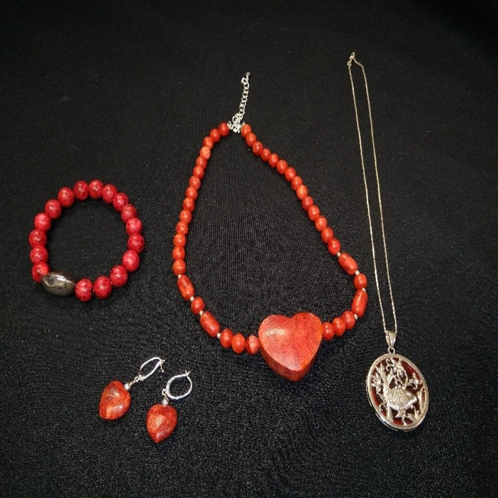 Sterling Silver and Red Stone Jewelry Lot
