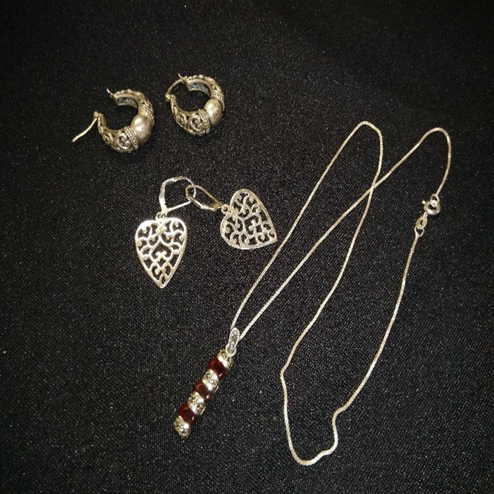 Sterling and Nickel Silver Earrings and Necklace