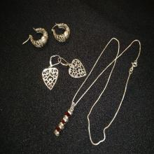 Lot 190: Sterling and Nickel Silver Earrings and Necklace