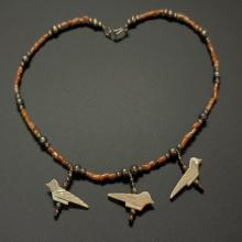 Lot 192: Brown Coral and Fetish Abalone Bird Necklace