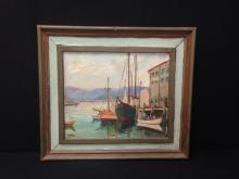 TERR 1964 Signed Oil on Canvass Fishing boats at