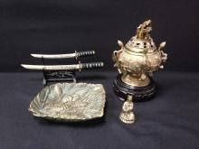 (4) vintage Orinenta/Asian Brass Items.