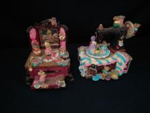 (2) Animated Moving Teddy Bear & Mice Music Boxes
