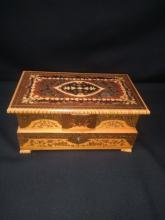 REUGE Ballerina Inlaid Marquetry Music Box.