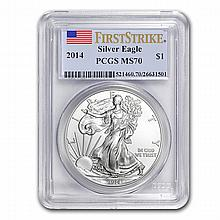20x - 2014 Silver American Eagle - MS-70 PCGS First Strike