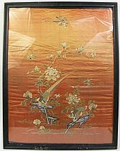 CHINESE EMBROIDERY ON SILK PICTURE OF BIRDS AND