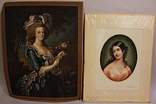 TWO MEZZOTINTS. Edwards, etc. Matted and unframed.