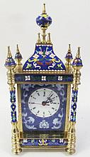 FRENCH STYLE CLOISONNE AND BRASS STEEPLE CLOCK.