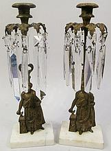 PAIR OF VICTORIAN GIRONDLE CANDLESTICKS. Marble