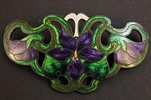 STERLING AND GUILLOCHE ENAMEL PIN. Art nouveau