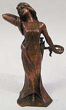 ART DECO DANCER. Copper plated spelter. 8