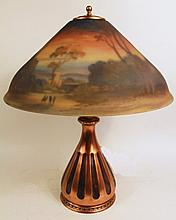 PAIRPOINT REVERSE PAINTED LAMP. Signed F. Guba on