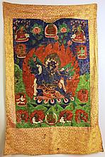 TIBETAN THANGKA PAINTING. On primed cotton cloth