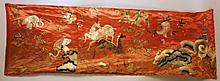 CHINESE EMBROIDERED SILK TRIPTYCH. 19th century.