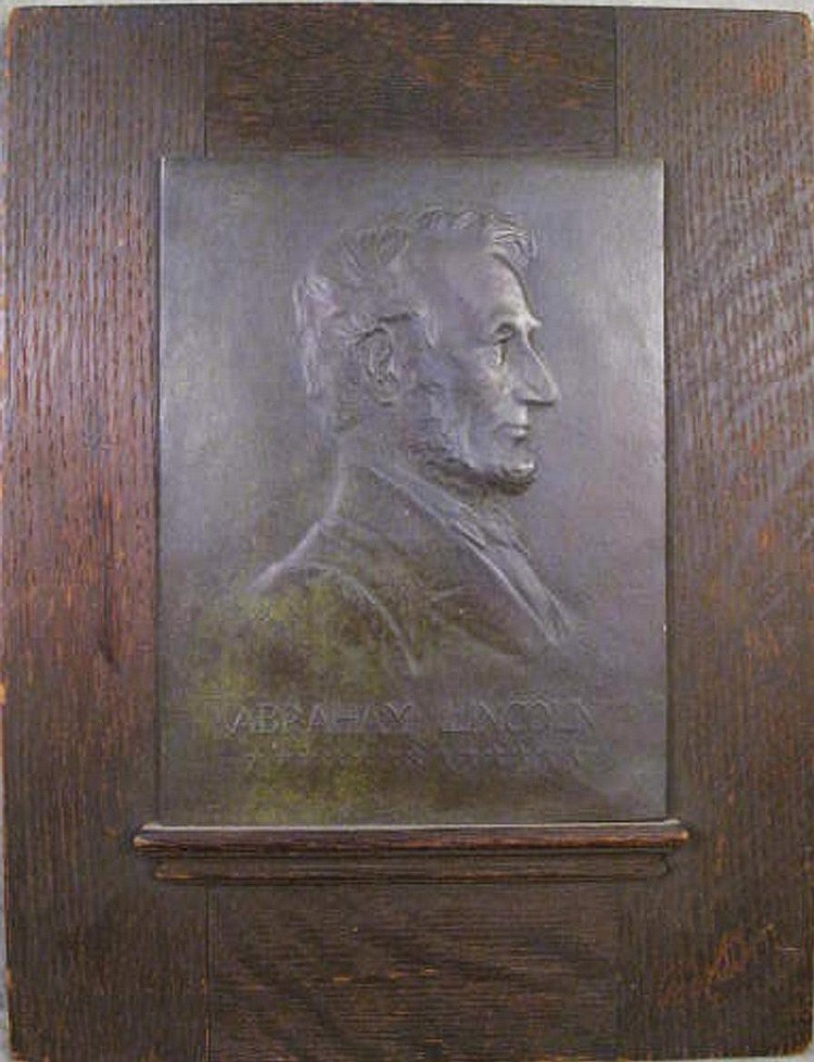 JULES EDOUARD ROINE. (American, 1857-1916). Bronze plaque of Abraham Lincoln.