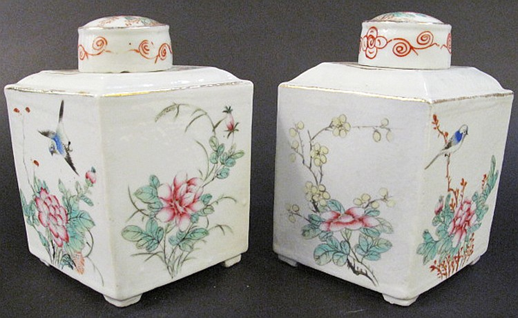 PAIR OF CHINESE PORCELAIN GINGER JARS. Floral and