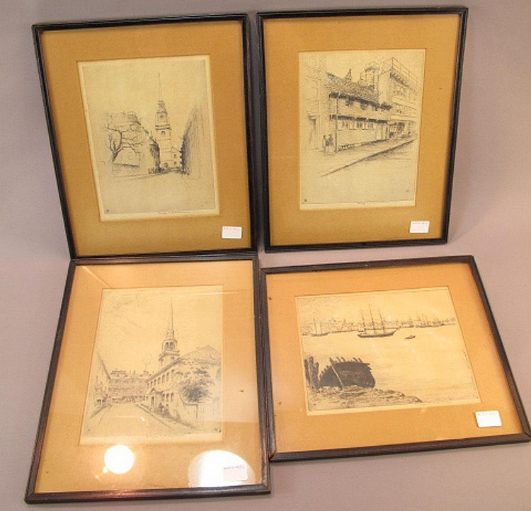 GEORGE TAYLOR PLOWMAN.  (American, 1869-1932).  Four etchings.  Including three scenes of Boston together with a harbor scene possibly Boston.  All signed in pencil, George T. Plowman.  8 3/4