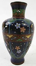 CHINESE CLOISONNE VASE. With dark ground and