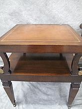 TWO REGENCY STYLE LEATHER TOP MAHOGANY END TABLES.