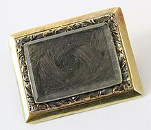 8K GOLD VICTORIAN MOURNING PIN. Ca. 1870.