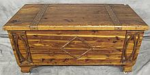 SOLID CEDAR CHEST. With copper straped top. 21