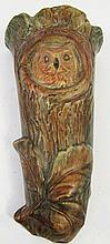 WELLER POTTERY (UNSIGNED & ATTRIBUTED) OWL WALL