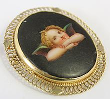 14K GOLD BROOCH. With a miniature on porcelain of