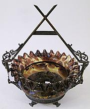 VICTORIAN BRIDE'S BASKET. Tortoise shell enameled