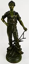 HEROIC FRENCH PATINATED METAL FIGURE OF A FARMER
