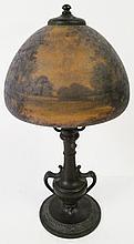 HANDEL REVERSE PAINTED DIMINUATIVE LAMP. Signed