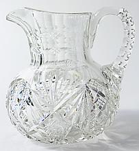 HAWKES CUT GLASS WATER PITCHER. With allover
