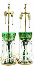 PAIR OF ELECTRIFIED LUSTERS. Gilt decorated with