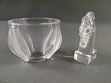 LALIQUE AND STEUBEN ACCENT GLASSWARE. Including