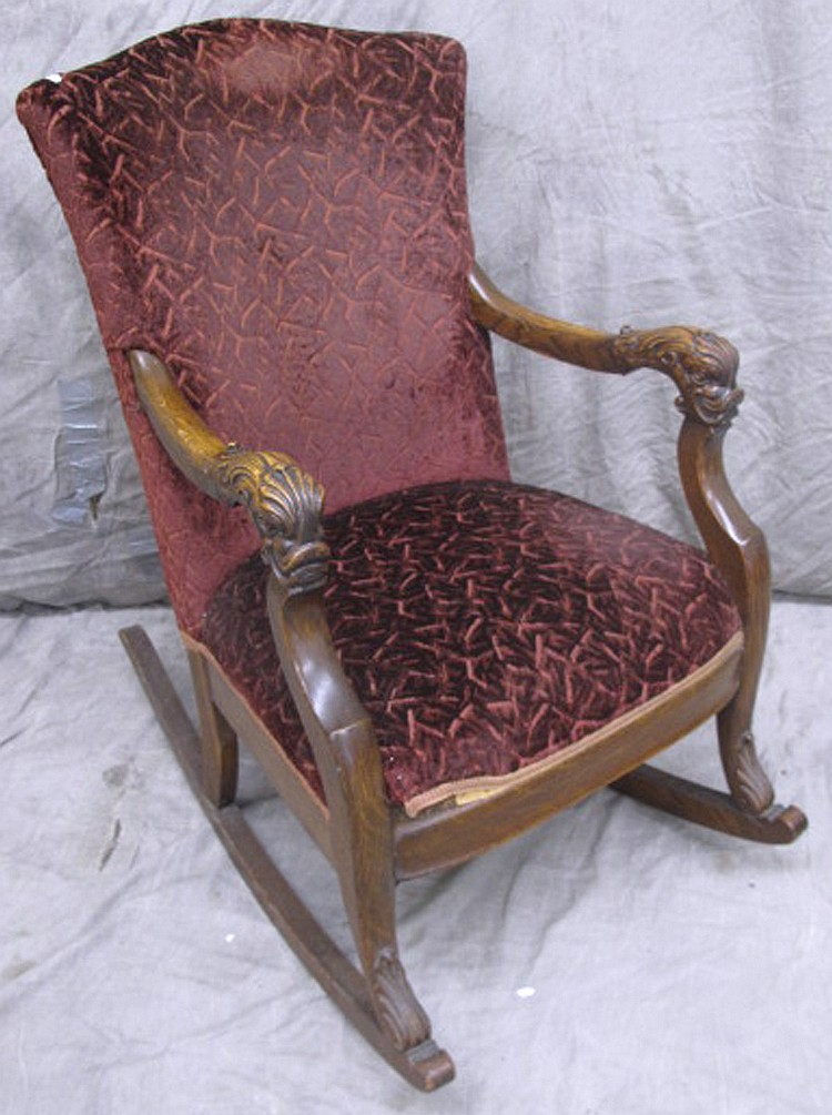 Excellent Vintage Oak Rocking Chair With Dolphin Head Arms Ncnpc Chair Design For Home Ncnpcorg